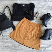 skirt,belle xo,suede,flare,camel,zip,buttons,gold,tan,beige,fall outfits,fashion,style,cute,camel suede skirt
