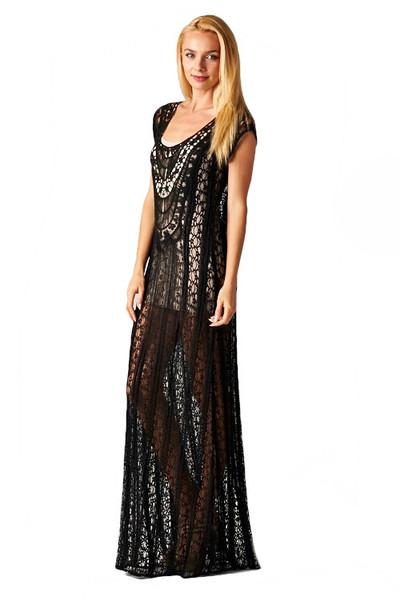 a2868e0e75c São Paulo Sheer Lace Overlay Maxi Dress - Black | Daily Chic