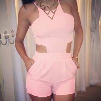 dress clothes romper pink pastel cut-out jewels open sides onesie shorts short top pretty combinaison short blouse cute jumpsuit bottom jewelry coat summer cut out romper peach light pink pink cutout romper pink romper one piece