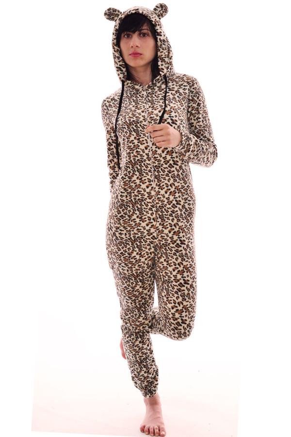 dress all in one jumpsuit cat hoodie onesie leopard print