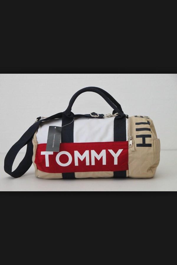 Tommy Hilfiger Duffle Bag Large Travel Gym Logo Duffel New Beige Tan Navy Blue
