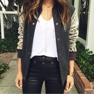 jewels anarchy street bar loop necklace gold gold necklace necklace long necklace letterman jacket snake skinn leather pants black leather pant gold jewelry aimee song song of style