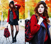 coat,fall outfits,winter outfits,print,fall sweater,red,socks,sweater,bag,hat,backpack,skirt,black,shoes,clothes,girl,combat boots