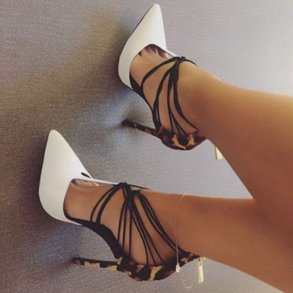 shoes pumps heels white straps cool amazing sexy women high heels stilettos leopard print leopard print high heels strappy heels strappy shoes