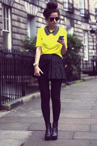 top yellow top beads collar skirt black skirt skater skirt yellow blouse yellow shirt beaded collar beaded pearl peter pan collar necklace collar
