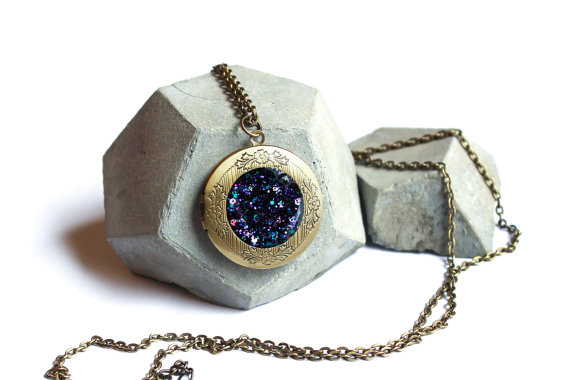Galaxy locket pendant necklace  with sparkling by symphonyofshiny