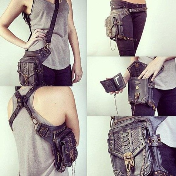 bag leather purse grunge transformer unusual