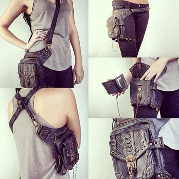 bag transformer unusual purse grunge leather Belt post apocalyptic