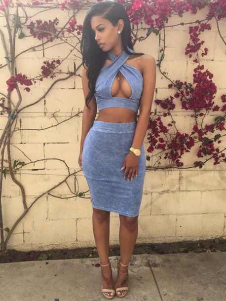 82604df9c056 dress denim shirt 2 piece skirt set two piece dress set blue blue dress  bodycon bodycon