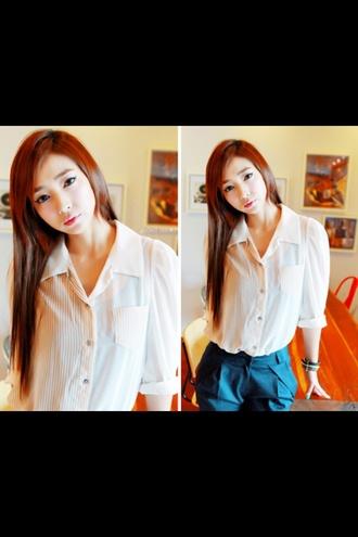 blouse white dress top collar collared shirts ulzzang kfashion