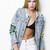Liquor n Poker - McPherson Mermaid Denim Distressed trucker jacket with sequin detail