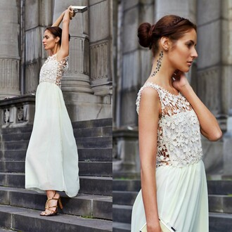 dress beige dress long dress lace flowers elegent chiffon fashion tumblr tumblr outfit blog pinterest instagram party dress