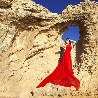 dress rihanna red dress red dress flowy dress prom dress beautiful chiffon love