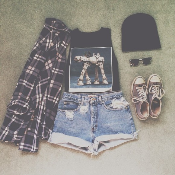 grunge shirt style checkerd hipster tank top indie soft grunge high waisted shorts tank tops flannel black converse grunge outfits hipster outfits tumblr tumblr clothes t-shirt jacket