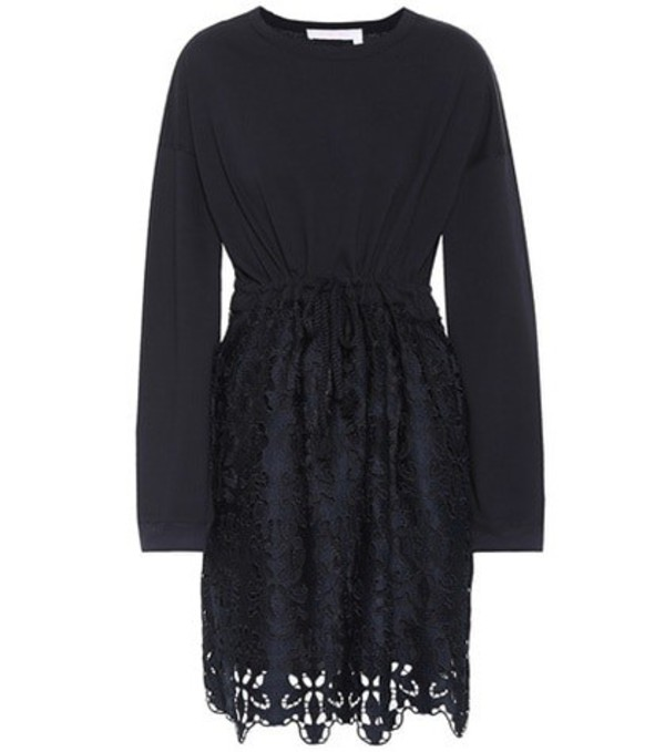See By Chloé Cotton lace minidress in blue