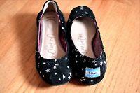 Womens toms black stars ballet flats size 7 black suede star patterned toms shoe
