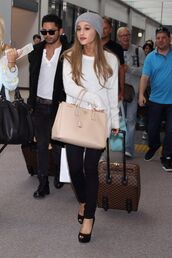bag,ariana grande,gloves,hair accessory,jeans,top,shoes,hat,dress,ariana grande dress,white dress