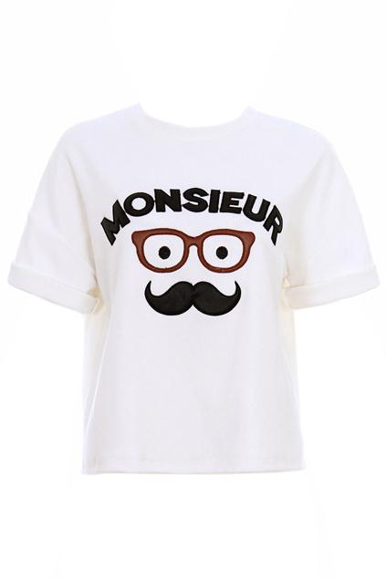 Wearing Glasses Moustache MONSIEUR Print White T-shirt | Pariscoming