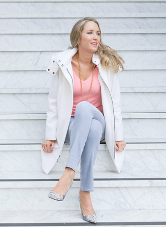 the classy cubicle blogger white coat pink sweater jeans coat sweater shoes jewels chloe parka tommy hilfiger cropped sweater mango stilettos