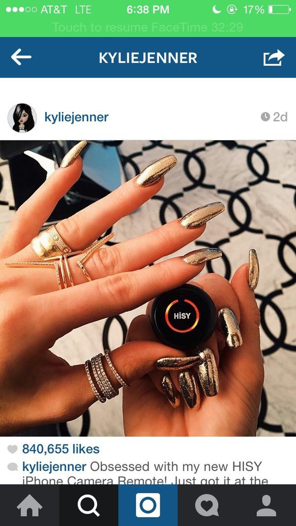 nail polish gold kylie jenner jewels