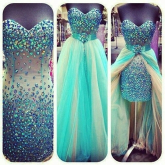 dress blue prom dress prom prom gown glitter long short two-piece two piece dress set paillettes rainbow
