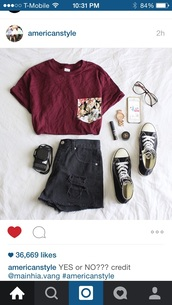 shirt,red,t-shirt,pocket t-shirt,top,wine-red,flowers,tumblr outfit,shorts,hipster,burgundy,sunglasses,floral pocket t-shirt,tropical pocket tee,cute top,shoes,skirt,black shorts,burgundy top,glasses,red tshirt,pockets,grunge t-shirt,cute,tumblr,summer outfits,tumblr shirt