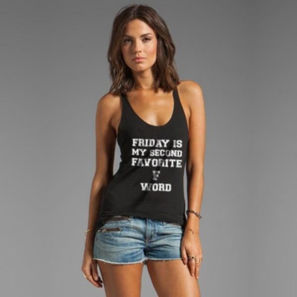 tank top printed t-shirt fashion top friday is my second favorite f word black