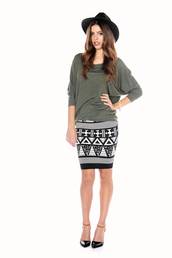 hat,fedora,green,dolman top,clothes,aztec,tribal pattern,pencil skirt,spotted moth,skirt,shirt
