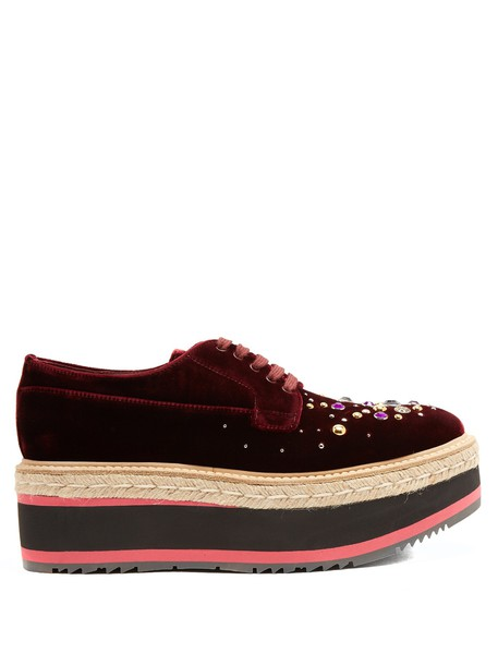 Prada embellished shoes velvet burgundy