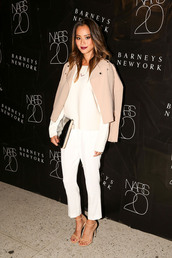 jamie chung,classy,jacket,camel,cropped pants,sandals,coat,shoes