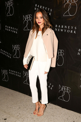 jamie chung classy jacket camel cropped pants sandals coat shoes