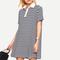 Navy striped loose-fit polo dress -shein(sheinside)