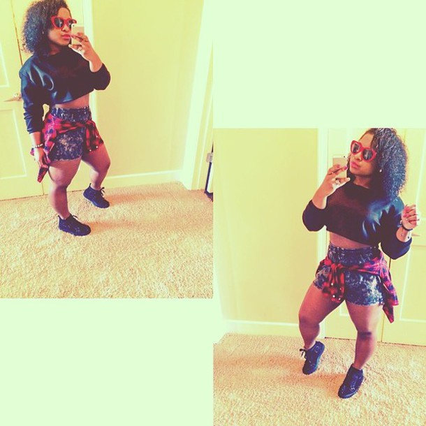 Shorts: reginae carter, shirt, black, crop tops - Wheretoget