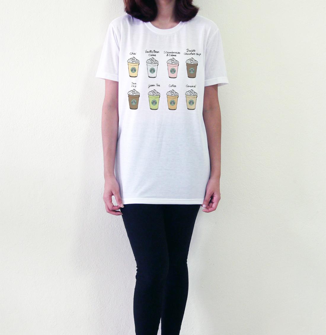 Starbucks Coffee T Shirts Starbucks Drawing Cup White Tee Shirts Size S M L - T-Shirts | RebelsMarket