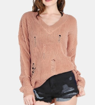 sweater girl girly girly wishlist knit knitted sweater v neck ripped