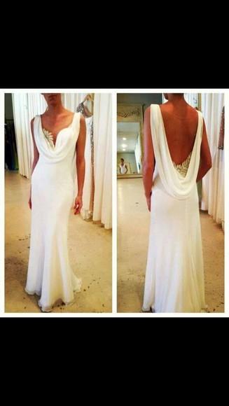 white dress backless dress prom dress long prom dresses gold detailing