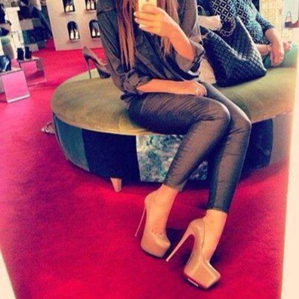 shoes high heels pumps nude light brown skinny pants pants