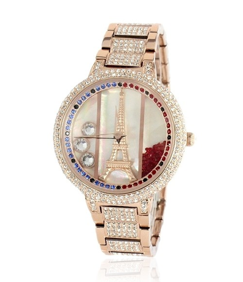New arrival colorful crystal quicksand eiffel tower style stainless steel band watch for women