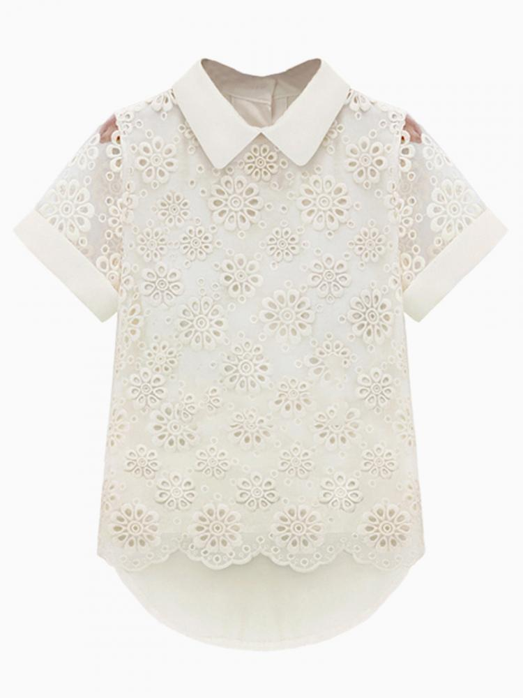 Cut Out Crochet Flower Short Sleeve Shirt In White | Choies