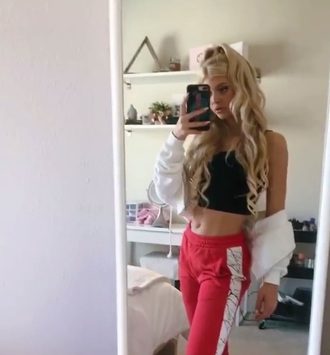 pants red red pants marble white marble loren gray track pants joggers cardigan
