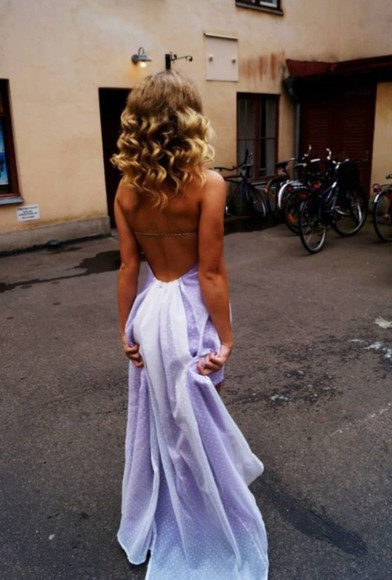 backless dress summer dress lilac dress summer prom dress