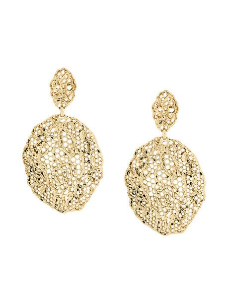 vintage women earrings lace gold grey metallic jewels