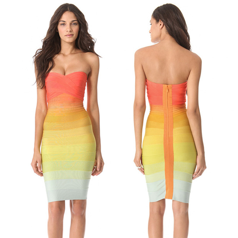 Newest Design Off Shoulder Rainbow Bandage Dress-in Dresses from Apparel & Accessories on Aliexpress.com