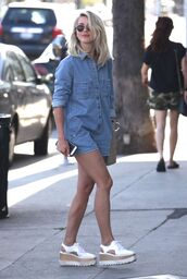 romper,denim,julianne hough,shoes,spring outfits,denim romper,white sneakers,round sunglasses