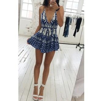 romper summer blue cute jumpsuit dress summer dress white and blue dress white blue dress pattern heels short blue dress