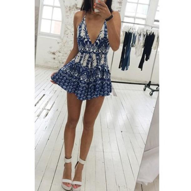 romper summer blue cute romper jumpsuit dress summer dress white and blue dress white blue dress pattern heels short blue dress