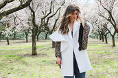 madame rosa,blogger,top,coat,jeans,jewels,spring outfits,blouse,white jacket