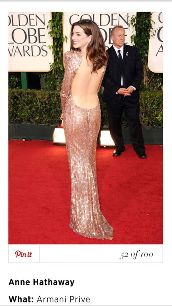 armani prive anne hathaway backless dress red carpet dress glitter dress dress