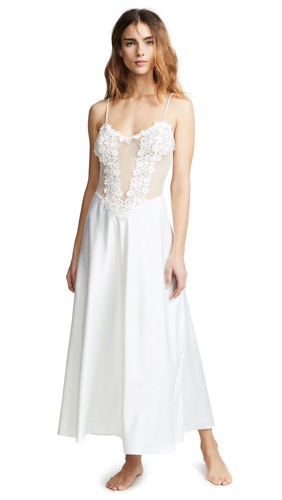 Flora Nikrooz Showstopper Charmeuse Gown with Lace in ivory