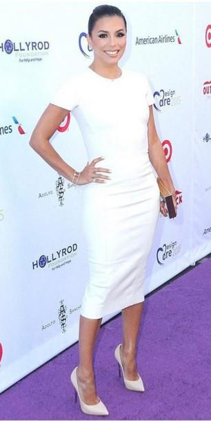 9451cb336a76 dress bodycon dress white dress eva longoria all white everything summer dress  midi dress celebrities in